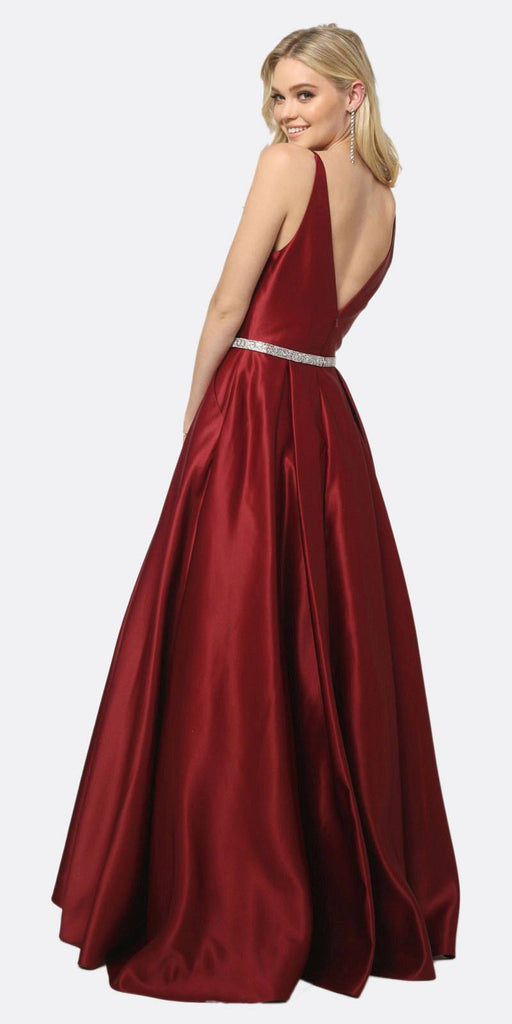 Juliet 696 A Line Long Satin Burgundy Prom Dress Removable Rhinestone Belt