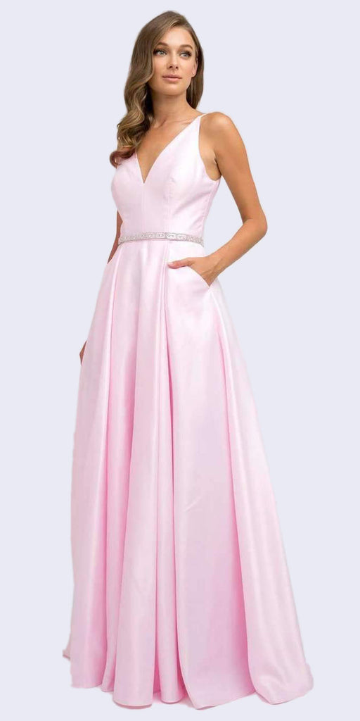 Juliet 696 Floor Length A-Line Light Pink Prom Dress Satin Removable Rhinestone Belt