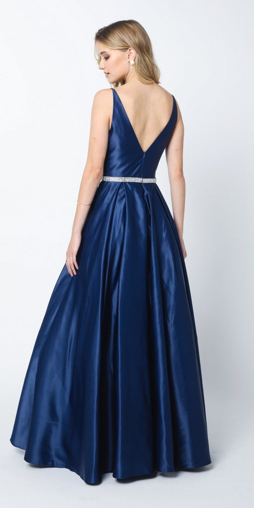 Juliet 696 A Line Long Satin Navy Blue Prom Dress Removable Rhinestone Belt