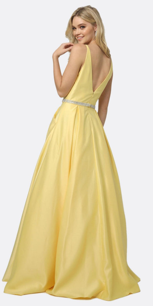 Juliet 696 A Line Long Satin Yellow Prom Dress Removable Rhinestone Belt