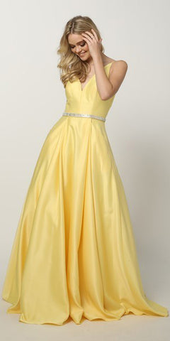Juliet 696 Floor Length A-Line Yellow Prom Dress Satin V-Neckline