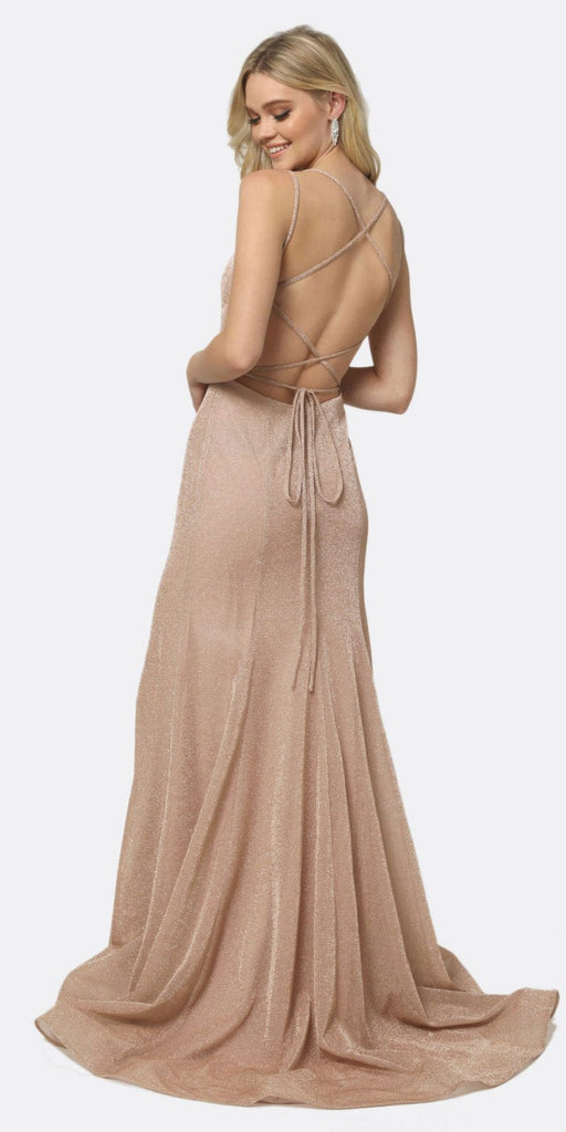Juliet 697 Mermaid Criss Cross Back V Neck Glitter Fitted Prom Dress Champagne