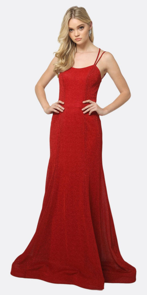 Juliet 697 Mermaid Criss Cross Back V Neck Glitter Fitted Prom Dress Red