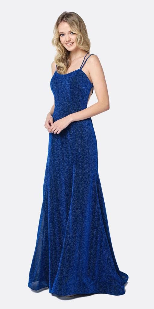 Juliet 697 Mermaid Criss Cross Back V Neck Glitter Fitted Prom Dress Royal Blue