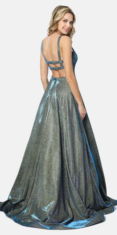 Juliet 698 Floor Length Glitter A-line Pockets Caged Back Prom Dress Emerald Gold