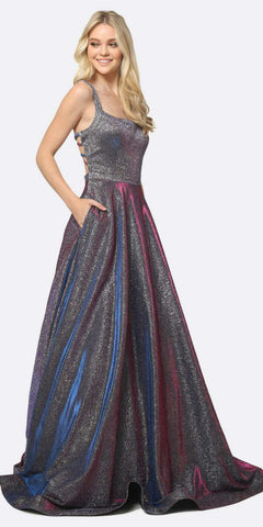 Juliet 698 Floor Length Glitter A-line Pockets Caged Back Prom Dress Magenta Purple