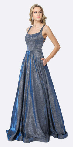 Juliet 698 Floor Length Glitter A-line Pockets Caged Back Prom Dress Navy Blue