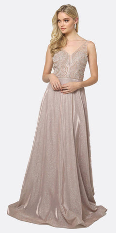 Juliet 699 Metallic Glitter Rose Gold Prom Dress Embellished Bodice V-Neck Sleeveless