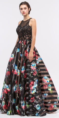 Black Lace Appliqued Bodice Cut-Out Back Floral Printed Ball Gown