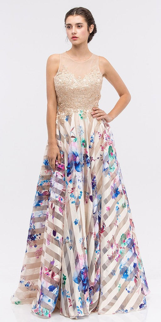Champagne Lace Appliqued Bodice Cut-Out Back Floral Printed Ball Gown