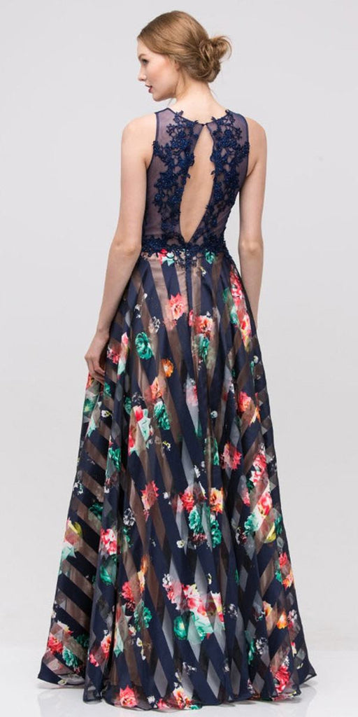 Navy Lace Appliqued Bodice Cut-Out Back Floral Printed Ball Gown