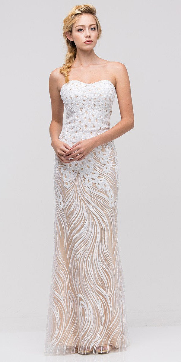 Strapless Sequins Fit and Flare Ivory Floor Length Prom Dress ...