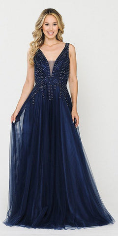 Navy Blue V-Neck Embellished Long Prom Dress