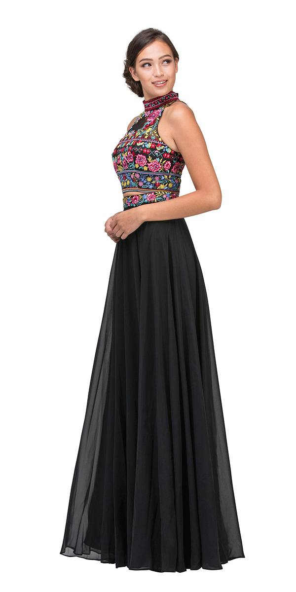 c15eb8ba5c8 Long Chiffon Embroidered Floral Pattern Prom Gown Black 2 Piece –  DiscountDressShop