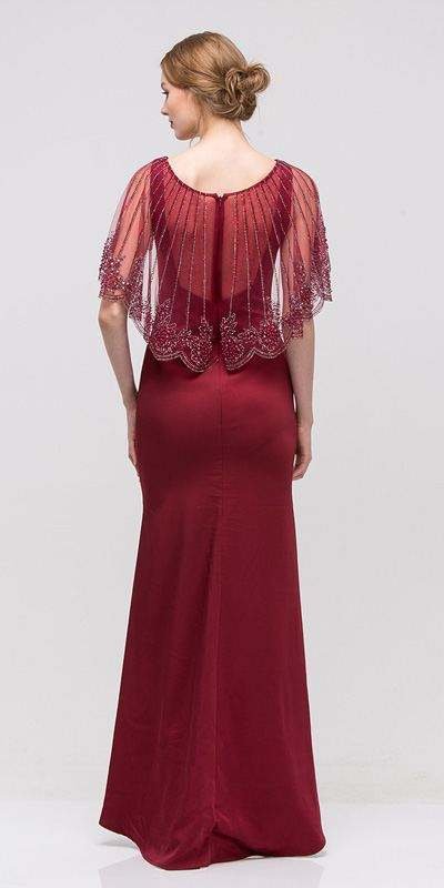 Burgundy Long Formal Dress with Sheer Embellished Fixed Shawl
