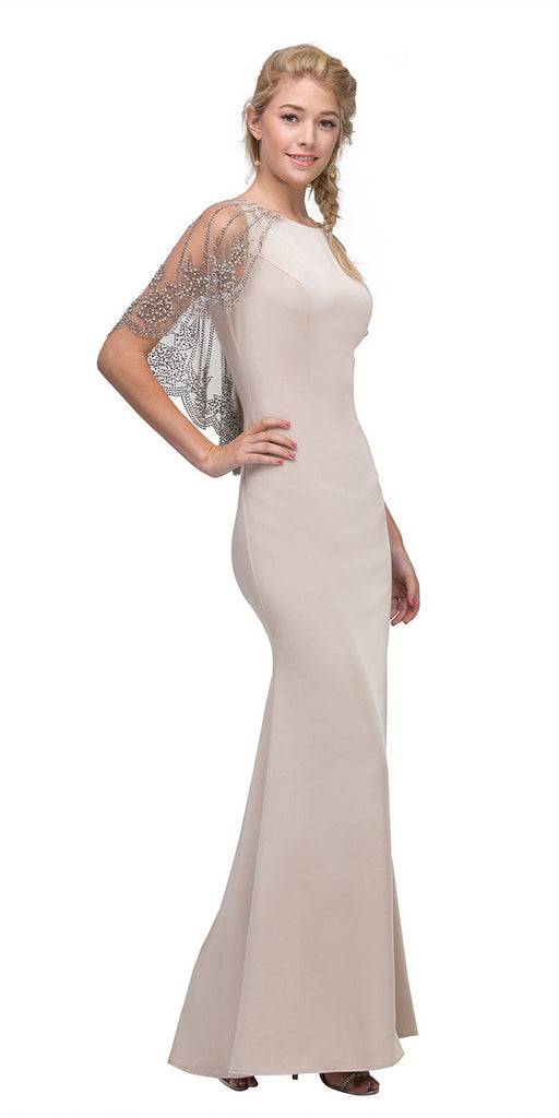 Eureka 7003 Beige Long Formal Dress with Sheer Embellished Fixed Shawl