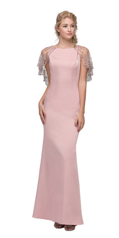 Eureka 7003 Blush Long Formal Dress with Sheer Embellished Fixed Shawl
