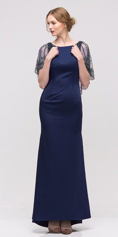 Navy Long Formal Dress with Sheer Embellished Fixed Shawl