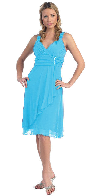 Sexy V Neck Empire Waist Turquoise Knee Length Cocktail Dress Chiffon