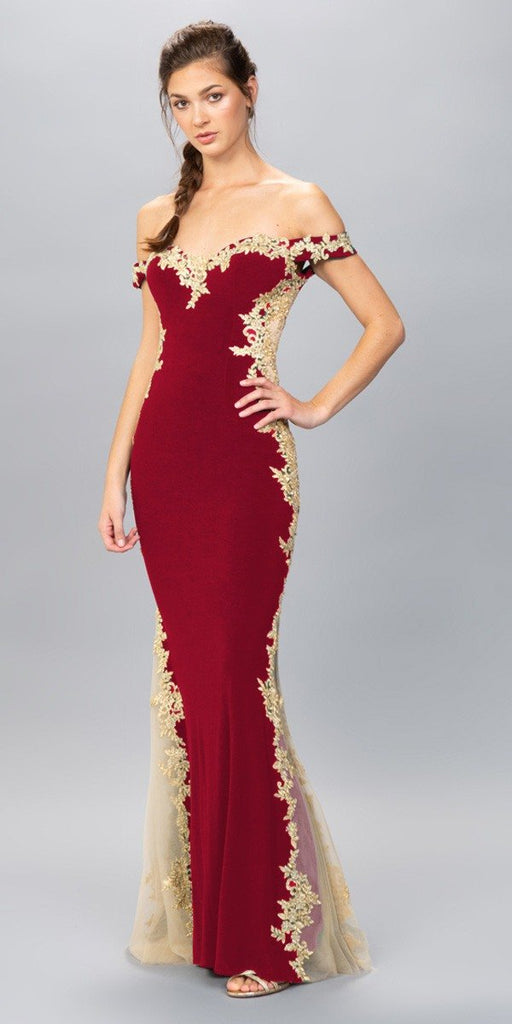 Eureka Fashion 7006 Burgundy/Gold Off-Shoulder Long Prom Dress with Lace Trim