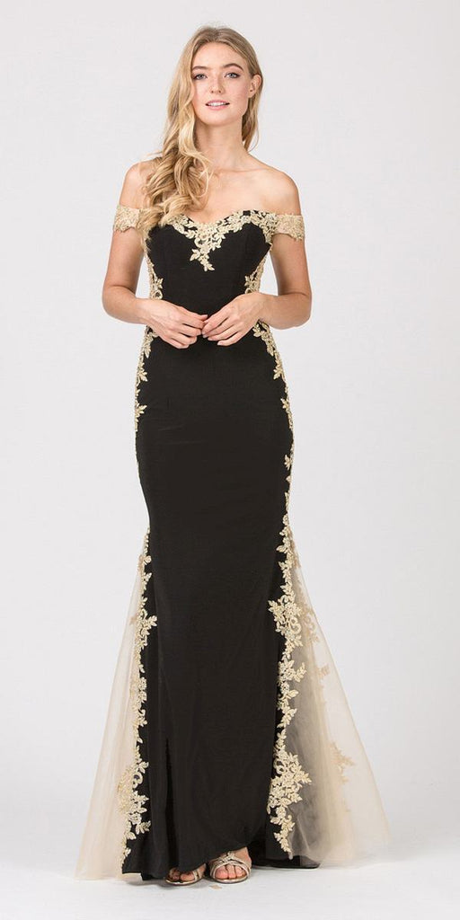 Black/Gold Off-Shoulder Long Prom Dress with Lace Trim