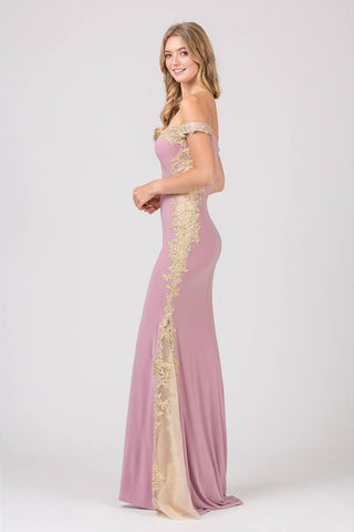 Dusty Rose/Gold Off-Shoulder Long Prom Dress with Lace Trim