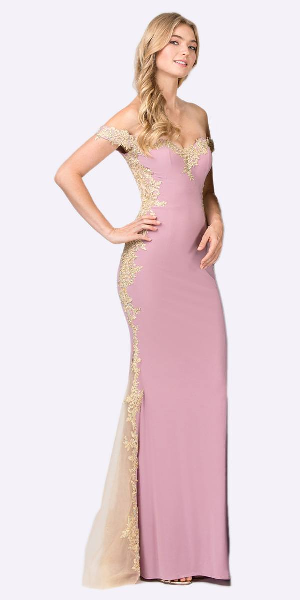 56f26cad074e Dusty Rose Gold Off-Shoulder Long Prom Dress with Lace Trim. Tap to expand