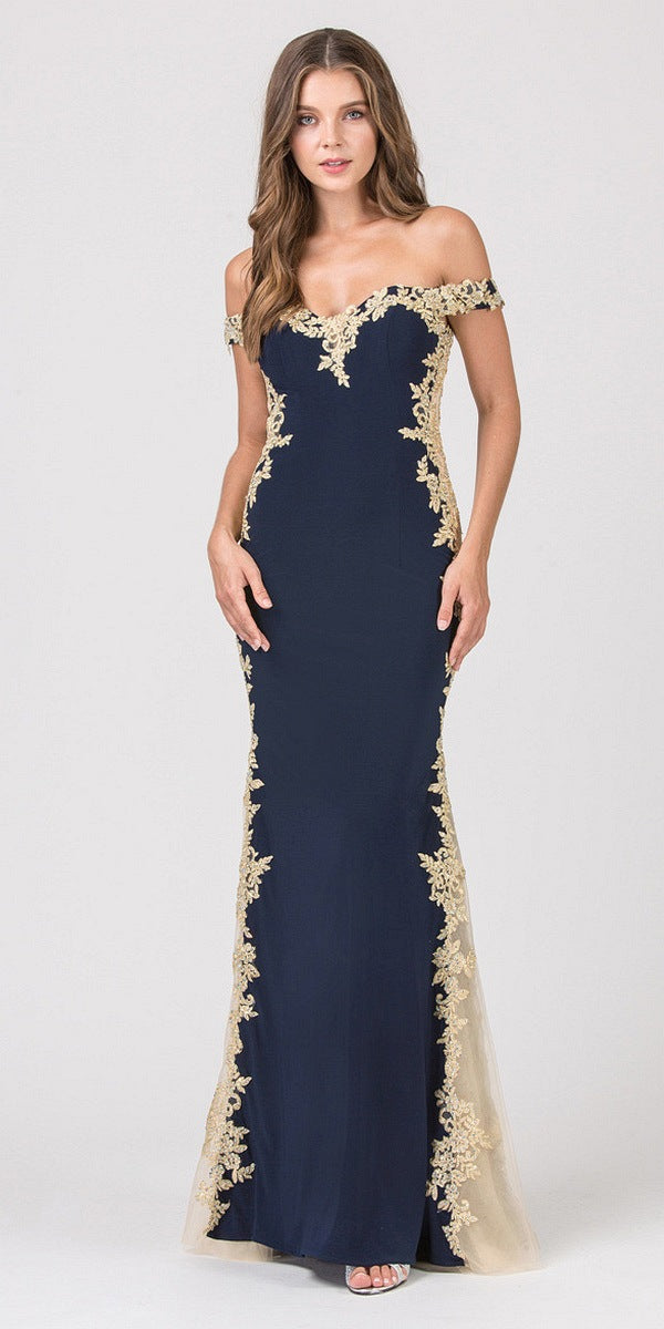Navy Blue/Gold Off,Shoulder Long Prom Dress with Lace Trim