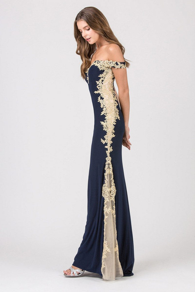 Navy Blue/Gold Off-Shoulder Long Prom Dress with Lace Trim