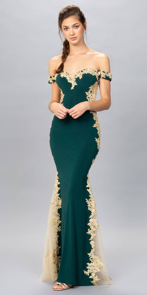 Eureka Fashion 7006 Hunter Green/Gold Off-Shoulder Long Prom Dress with Lace Trim