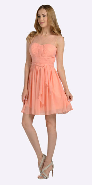 Poly USA 7006 Short Sleeveless Chiffon Bridesmaid Dress Light Coral Illusion Neck