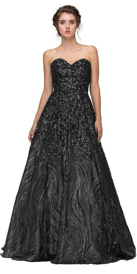 Eureka Fashion 7007 Black Strapless Sequins Prom Gown Corset Back