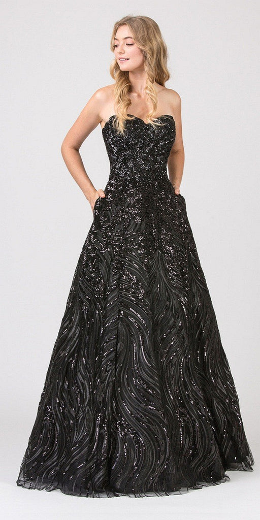 Eureka Fashion 7007 Gold Strapless Sequins Prom Gown Corset Back