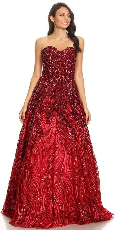 Eureka Fashion 7007 Red Strapless Sequins Prom Gown Corset Back