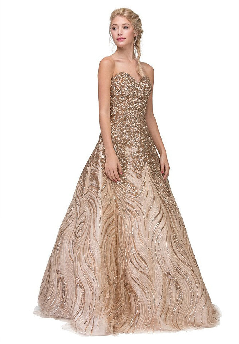 Eureka Fashion 7007 Gold Strapless Sequins Prom Gown Corset Back ...