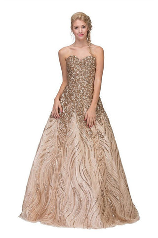Long A-Line Sequin Gown Gold Floral Design Criss Cross Back