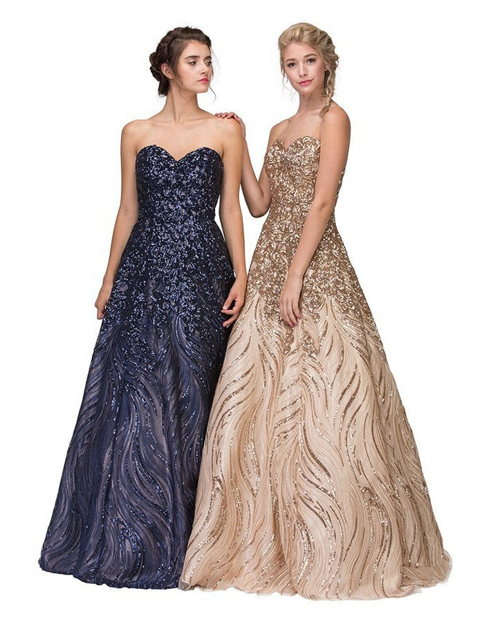 Eureka Fashion 7007 Navy Blue Strapless Sequins Prom Gown Corset ...