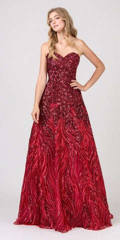 Red Long Formal Dress with Sheer Side Cut-Outs and Slit