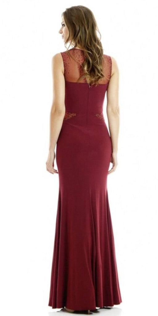 Poly USA 7008 Long Sleeveless Fitted Burgundy Party Dress ITY Mesh Stone Back View