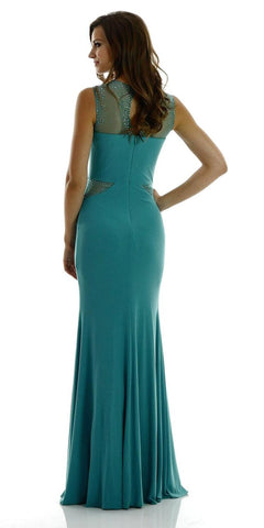 Poly USA 7008 Long Sleeveless Fitted Mineral Party Dress ITY Mesh Stone Back View