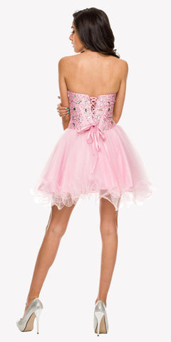 Poofy Short Tulle Skirt Light Pink Dress Strapless Boned Bustier Taffeta