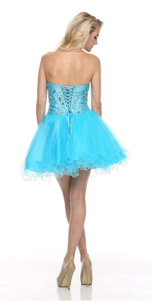 Juliet 71 Poofy Short Tulle Skirt Turquoise Dress Strapless Boned Bustier Taffeta