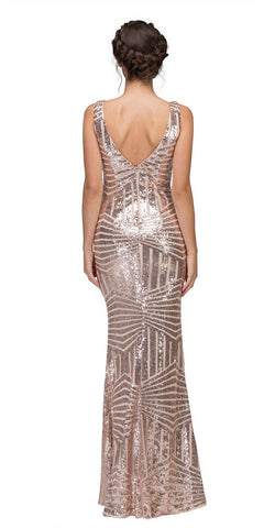 Eureka Fashion 7010 Floor Length Sequin Prom Dress V-Neck with Sheer Inset Rose Gold