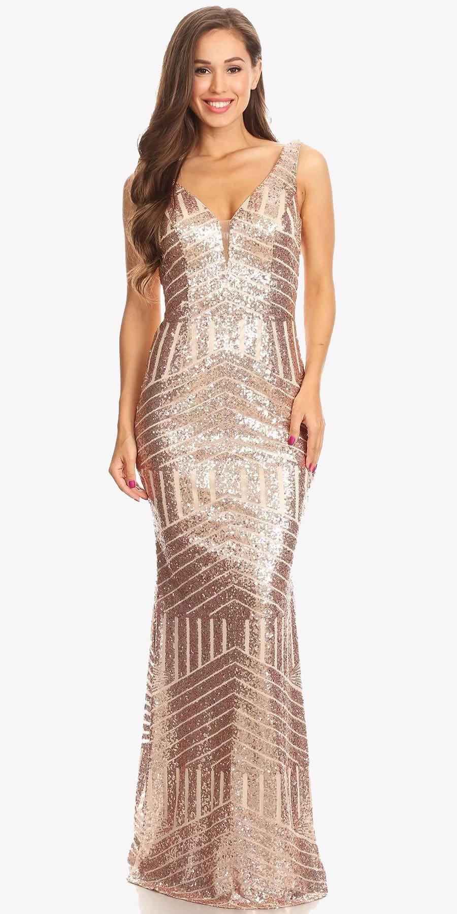 Floor Length Sequin Prom Dress V-Neck With Sheer Inset -7050