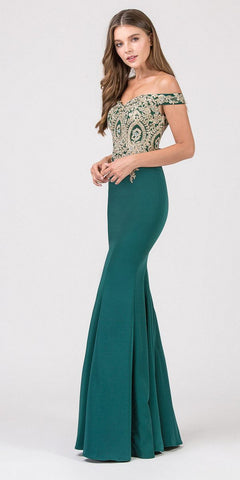 Eureka Fashion 7012 Off-the-Shoulder Long Prom Dress Appliqued Bodice Hunter Green