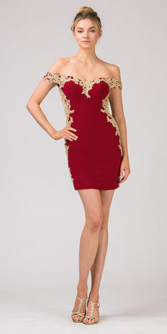Sweetheart Neck Burgundy/Gold Off-Shoulder Short Party Dress