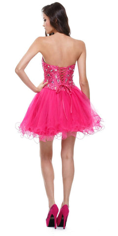 Poofy Short Tulle Skirt Fuchsia Dress Strapless Boned Bustier Taffeta Back
