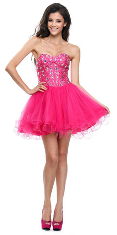 Poofy Short Tulle Skirt Fuchsia Dress Strapless Boned Bustier Taffeta