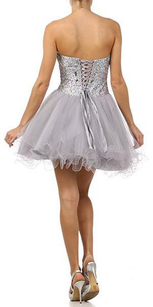 Juliet 71 Poofy Short Tulle Skirt Silver Back Dress Strapless Boned Bustier Taffeta