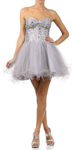 Poofy Short Tulle Skirt Silver Dress Strapless Boned Bustier Taffeta